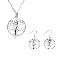 キュービックジルコニア 銅 銀メッキ 命の木 シルバー 1×ネックレス 1×イヤリング(ペア) のために パーティー 日常 1セット ウェディングギフト