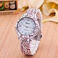 Women's Fashion Watch Quartz Plastic Band Flower White