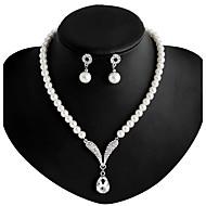 Halskette / Ohrringe Künstliche Perle Strass versilbert Aleación Weiß Halsketten Ohrringe Für Hochzeit Party Alltag 1 Set