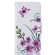 Para Samsung Galaxy Capinhas Porta-Cartão / Carteira / Com Suporte / Flip Capinha Corpo Inteiro Capinha Flor Macia Couro PU SamsungJ5