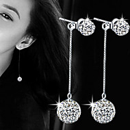 Perle Legering Imitation Diamond Imiteret Perle Mode Yndig Cirkelformet Sølv Smykker Fest Daglig 1 par