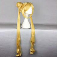 καυτό πωλεί υψηλής ποιότητας ανθεκτικό στη θερμότητα 100 εκατοστά χαριτωμένο χρυσό σγουρά κυματιστά γυναικών cosplay περούκα + Sailor Moon