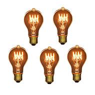 5-pakning A19 E27 40W gløde vintage lyspære for husholdning bar kaffebar hetellet (220-240)
