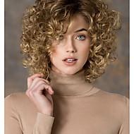 damesmode goud blonde mix kort krullend synthetische pruiken voor vrouwen