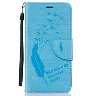 For Samsung Galaxy etui Kortholder / Pung / Rhinsten / Med stativ / Flip Etui Heldækkende Etui Fjer Blødt Kunstlæder SamsungJ5 (2016) /