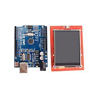 továbbfejlesztett változata uno r3 atmega328p board + 2,4 hüvelykes TFT LCD érintőképernyő pajzs kijelző modul Arduino
