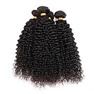 """4 db / tétel 100g / db 8 """"-26"""" szűz indiai hullámos haj természetes fekete kinky göndör hajhosszabbítások"""