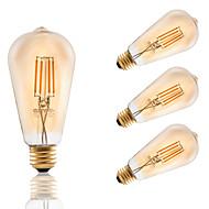 4W E26 フィラメントタイプLED電球 ST21 4 COB 320 lm アンバー 明るさ調整 AC 110-130 V 4個