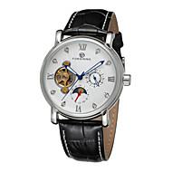 FORSINING Hombre Reloj de Vestir El reloj mecánico Cuerda Automática Huecograbado Piel Banda Negro Blanco Negro