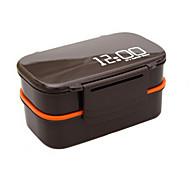 00:00 klok 2 lagen bento lunch box 1.4l plastic magnetron voedsel container (willekeurige kleur)