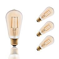 E26/E27 LED-glødepærer ST19 2 COB 180 lm Ravgult Dekorativ Mulighet for demping AC 110-130 V 4 stk.
