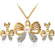 Smykkesæt Perle Rhinsten Imitation Diamond Legering minimalistisk stil Mode Guld Hvid Halskæde / Øreringe Daglig Afslappet 1 SætHalskæder