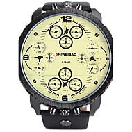 SHI WEI BAO 男性 スポーツウォッチ 軍用腕時計 カレンダー 3タイムゾーン クォーツ レザー バンド クール ラグジュアリー ブラック