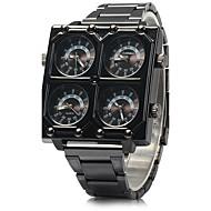 SHI WEI BAO 男性 軍用腕時計 3タイムゾーン クォーツ ステンレス バンド クール ブラック