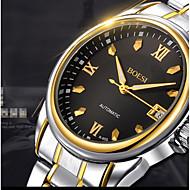 BOSCK 男性 ドレスウォッチ 機械式時計 カレンダー 耐水 光る 自動巻き ステンレス バンド カジュアルスーツ 世界地図柄 ゴールド