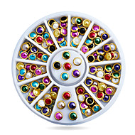 Colorful Half Round Nail Pearls with Metal Studs Rhinestones Wheel Nail Decoration Supplies
