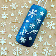 1pcs  Christmas 3d Glitter Nail Art Stickers Winter Manicure Nails Decals Foil Decorations Tool Snowflake Design