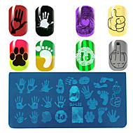 The Palm Fingerprint Pattern Manicure Printing Plate Foot Rectangular Template Quality Blue Film Plate