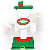laatu flanelli laudeliina&matto jalka pad vesisäiliön asettaa pyyhe kansi kylpyhuone se joulupukki joulukoristeen