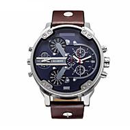 CAGARNY® Men's Military Watch / Fashion Watch / Quartz Large Dail Casual Watch Calendar Leather Band Black / Brown Wrist Watch