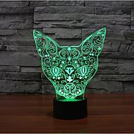 toque gato escurecimento 3D conduziu a luz da noite 7colorful decoração atmosfera lâmpada de luz de Natal iluminação novidade