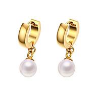 Kolczyki wiszące Perła Modny Godny podziwu Osobiste Hipoalergiczny Perłowy Stal tytanowa Pozłacane Circle Shape Gold Biżuteria NaŚlub