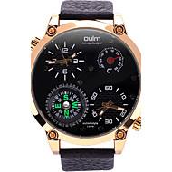 Oulm Herrn Militäruhr Armbanduhr Einzigartige kreative Uhr Quartz Compass Thermometer Duale Zeitzonen Echtes Leder BandCool Bequem
