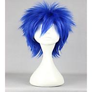 Naisten Synteettiset peruukit Suojuksettomat Lyhyt Suora Sininen Cosplay-peruukki Halloween Peruukki Carnival Peruukki puku Peruukit