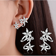 Stud Earrings Clip Earrings Crystal Imitation Diamond Basic Double-layer Sterling Silver Heart Flower Leaf Gold Silver Jewelry ForWedding