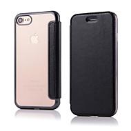 のために フリップ ケース フルボディー ケース ソリッドカラー ハード PUレザー のために Apple iPhone 7プラス / iPhone 7 / iPhone 6s Plus/6 Plus / iPhone 6s/6 / iPhone SE/5s/5