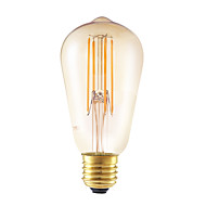 6W E27 LED Filament Bulbs ST58LF 4 COB 550 lm Amber Dimmable / Decorative AC 220-240 V 1 pcs
