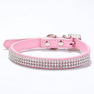 Katter / Hundar Halsband Justerbara/Infällbar / Handgjord Mosaik / Hjärtan / Bergkristall Röd / Blå / Rosa / Ros / Flerfärgad PU Läder