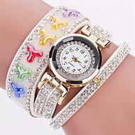 Xu™ 아가씨들 패션 시계 손목 시계 석영 PU 밴드 빈티지 참 캐쥬얼 블랙 화이트 블루 레드 브라운 그린 핑크 네이비 아이보리