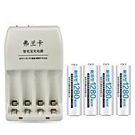 fulanka 4 slots slimme intelligente batterijlader voor AA / AAA NiCd NiMH-batterij + 4 AAA batterijen