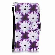 リンゴのitouchの5 6のための紫色の菊の絵のPU携帯電話ケース
