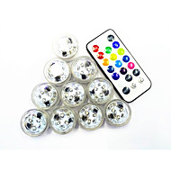 10Pcs Rgb 3Led Smd2835 Remote Controlled Water Proof Candle Lamp Multi-Color