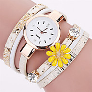 Xu™ 아가씨들 패션 시계 손목 시계 석영 PU 밴드 빈티지 꽃패턴 참 캐쥬얼 블랙 화이트 블루 레드 그레이