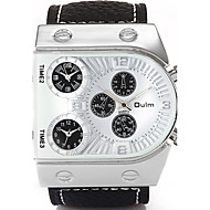 Oulm Herren Armbanduhr Quartz Drei-Zeit-Zonen Echtes Leder Band Cool Bequem Luxuriös Schwarz Weiß Schwarz Kaffee
