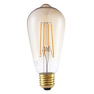 4W E26/E27 フィラメントタイプLED電球 ST64 4 COB 350 lm アンバー 装飾用 / 明るさ調整 交流220から240 V 1個