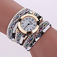 Fashion Women'S Watches Retro Bracelet Watch Synthetic Leather Quartz Watch Crystal Bling Dress Montre Relogio