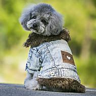 Cães Casacos / Jaquetas Jeans Azul / Preto Roupas para Cães Inverno / Primavera/Outono JeansCowboy / Da Moda / Mantenha Quente / A prova