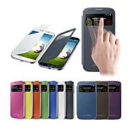 Pro Samsung Galaxy pouzdro s okýnkem / Automatické probouzení / Flip Carcasă Oboustranný Carcasă Jednobarevné PU kůže Samsung S4