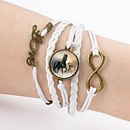 Rannekorut Amuletti-rannekorut / Nahka Rannekorut / Wrap Rannekorut Nahka Rakkaus / äärettömyys / Hevonen Friendship / Kaksoiskerros