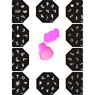 Template Nail Design Polish Print Mould Nail Stencil Tools(10Pcs Steel Plates +  Stamper & Scraper)