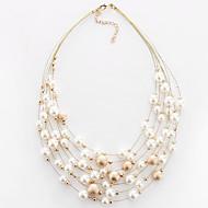 Žene Choker oglice Imitacija Pearl Biseri Imitacija bisera Legura Round Shape Kružni dizajn Moda Obala Zlatan JewelryParty Dnevno