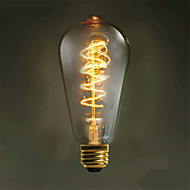 Zweihnder W408 E27  40W 500LM 3000-3500K ST64 Tungsten Core Warm Light Filament lamp(AC 220-240V)