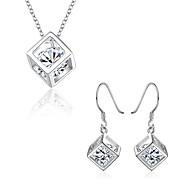 Damen Modeschmuck Kubikzirkonia Kupfer versilbert 1 Halskette 1 Paar Ohrringe Für Party Alltag Hochzeitsgeschenke