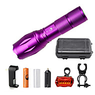 U'King ZQ-G7000-Purple#3-US CREE XML-T6 2000LM Portable Zoom Flashlight Torch Kit 5Modes with 1*Battery and Charger
