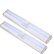 youoklight 2st rörelsekänsliga 10-ledda varmvit / kallt vitt ljus nattlampa - silver