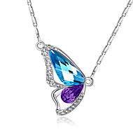 Fashion diamond crystal butterfly wings full chain necklace clavicle support 0382 # of love